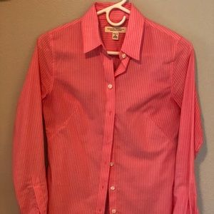 Tops - Pink with white stripe button down blouse
